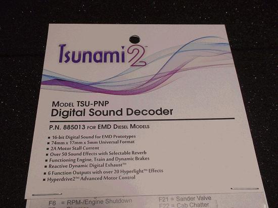 TSUNAMI 2 TSU-PNP P.N. 885013 EMD DIESEL DIGITAL SOUND DECODER