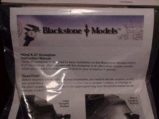 HOn3 BLACKSTONE MODELS P.N.B370101 K-27 SNOWPLOW