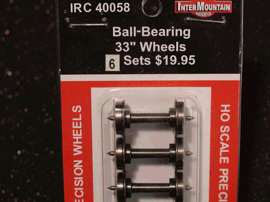 HO-INTERMOUNTAIN IRC 40058 BALL BEARING WHEELS 33 INCH 6 PACK